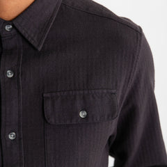 Bridge & Burn Bedford Black Herringbone Button Up Shirt