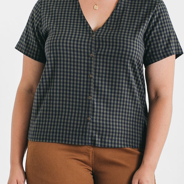 Bridge & Burn Adele Navy-Olive Gingham Button Up Blouse