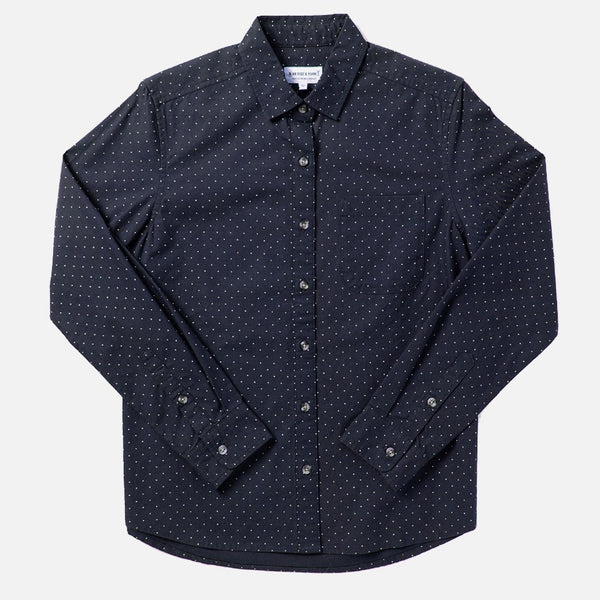 Bridge & Burn Ash Navy Polkadot Button Up Shirt