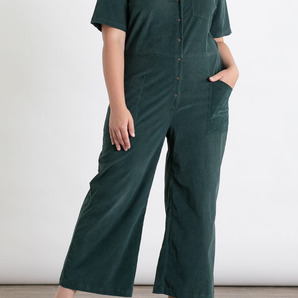 Bridge & Burn Lou Deep Green Corduroy Jumpsuit