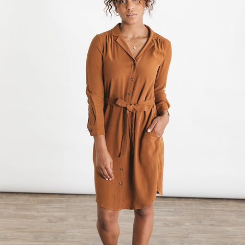 Bridge & Burn Emery Camel Shirtdress