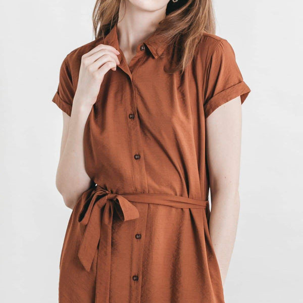 Bridge & Burn Merit Rust Classic Button Up Belted Shirt