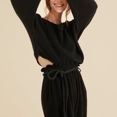 Tied waist- Paloma Paper Bag Pants in black