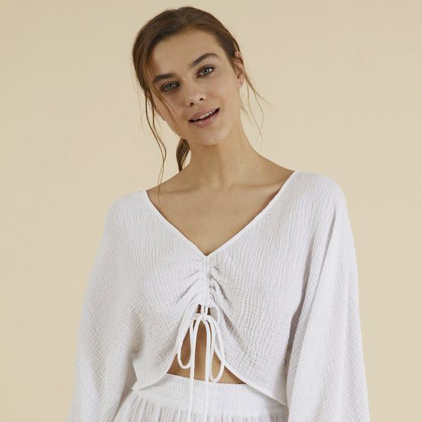 Up close The Handloom White Gaia Drawstring Crop Top