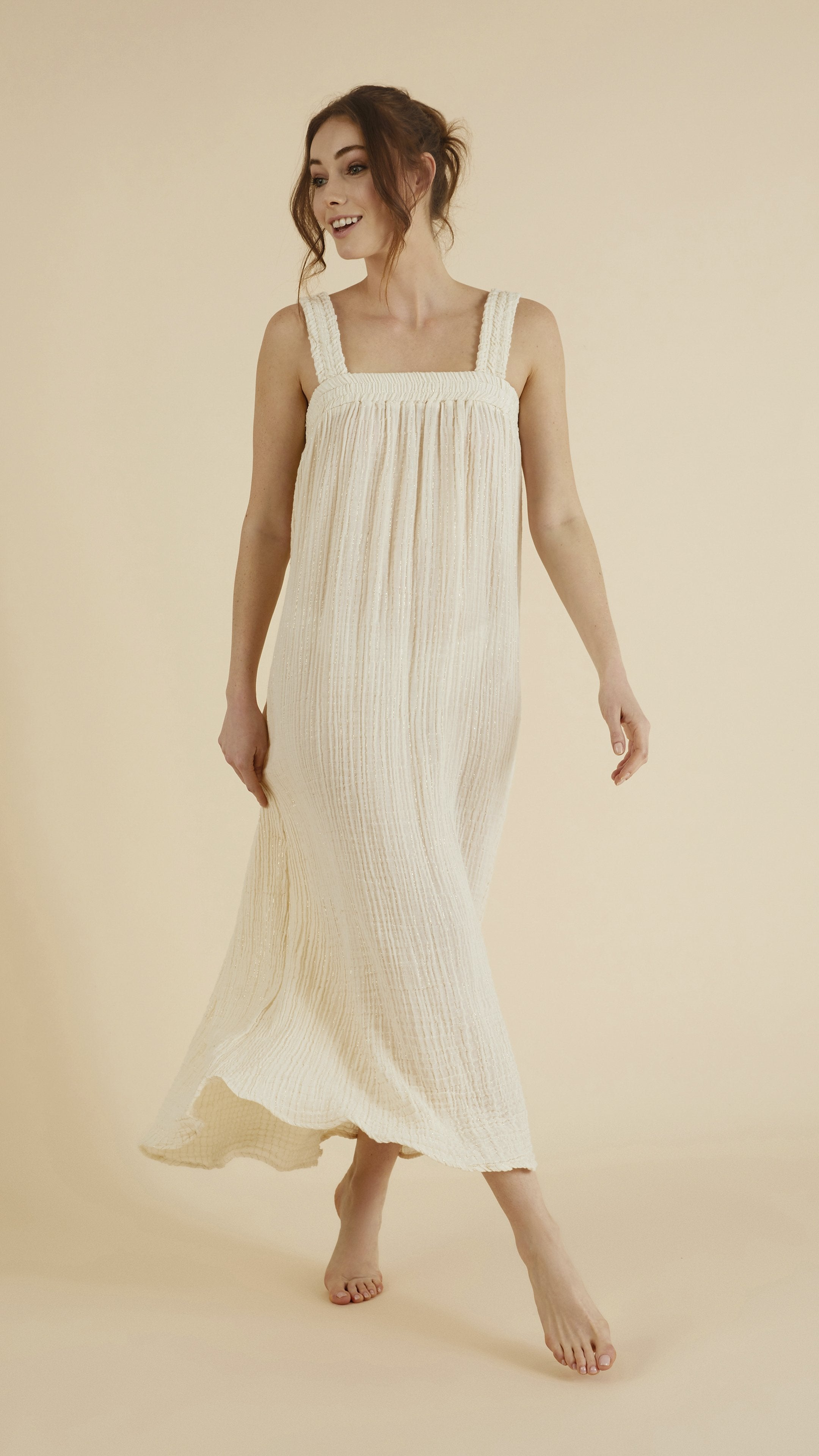 Front profile - Noa Straps Maxi Dress in Natural with Gold Stripes