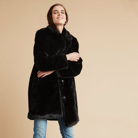 front profile, Fur Midi Coat