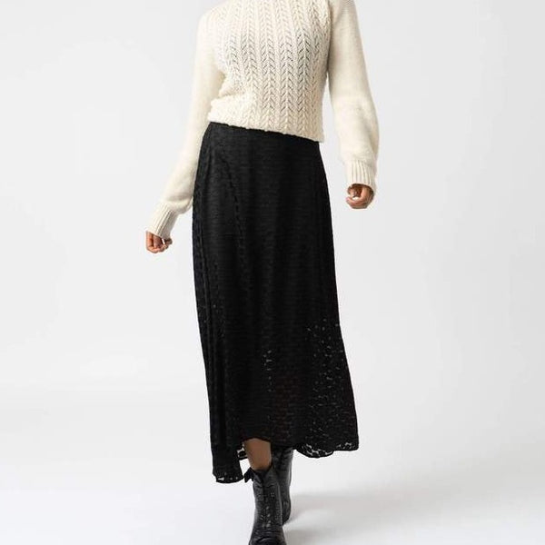 SUTTON SKIRT - BLACK BURNOUT