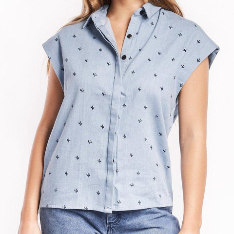 front profile, Baby Cacti Chambray Blouse