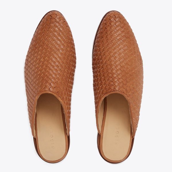 NISOLO Ama Women's Woven Leather Mule Slip On Brown