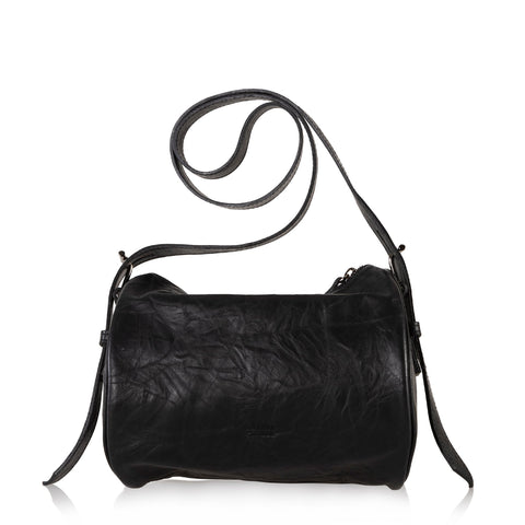 JOANNA MAXHAM The Roll Bag Crossbody (Black Crinkled Leather)