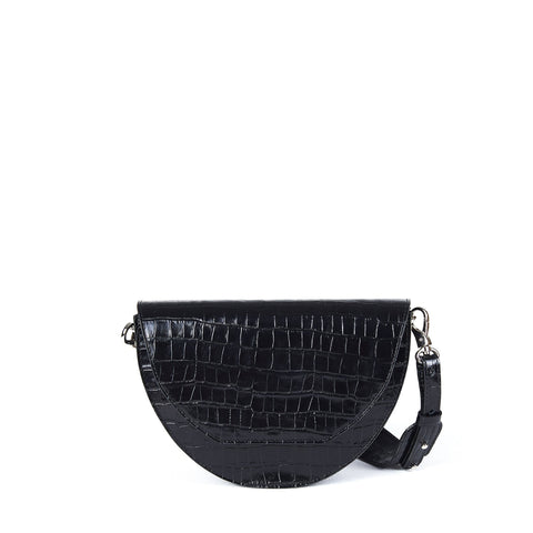 JOANNA MAXHAM Lune Saddle Bag (Black Croco)