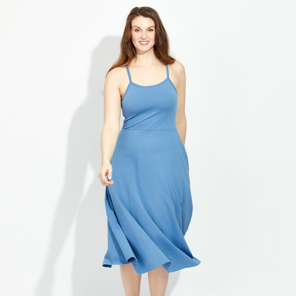 PACT Blue fit & flare organic cotton dress