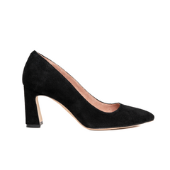 ALLY Black Suede Block Heel Pump