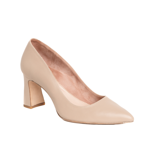 ALLY Bossy Beige Leather Block Heel Pump
