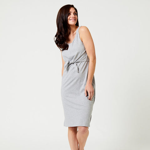 PACT Grey Front Tie Dress