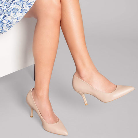 ALLY Bossy Beige Leather Pump