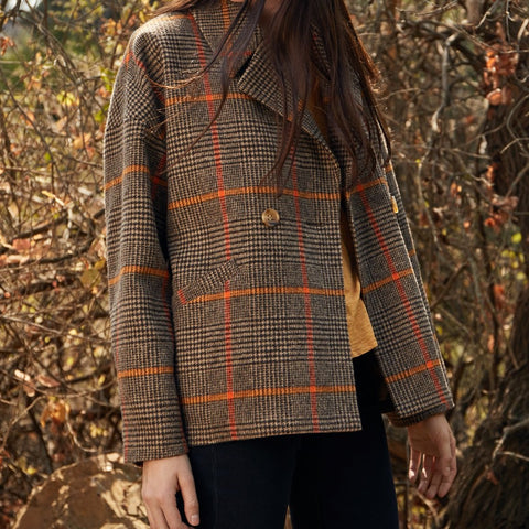 front profile,RHONA PLAID COAT