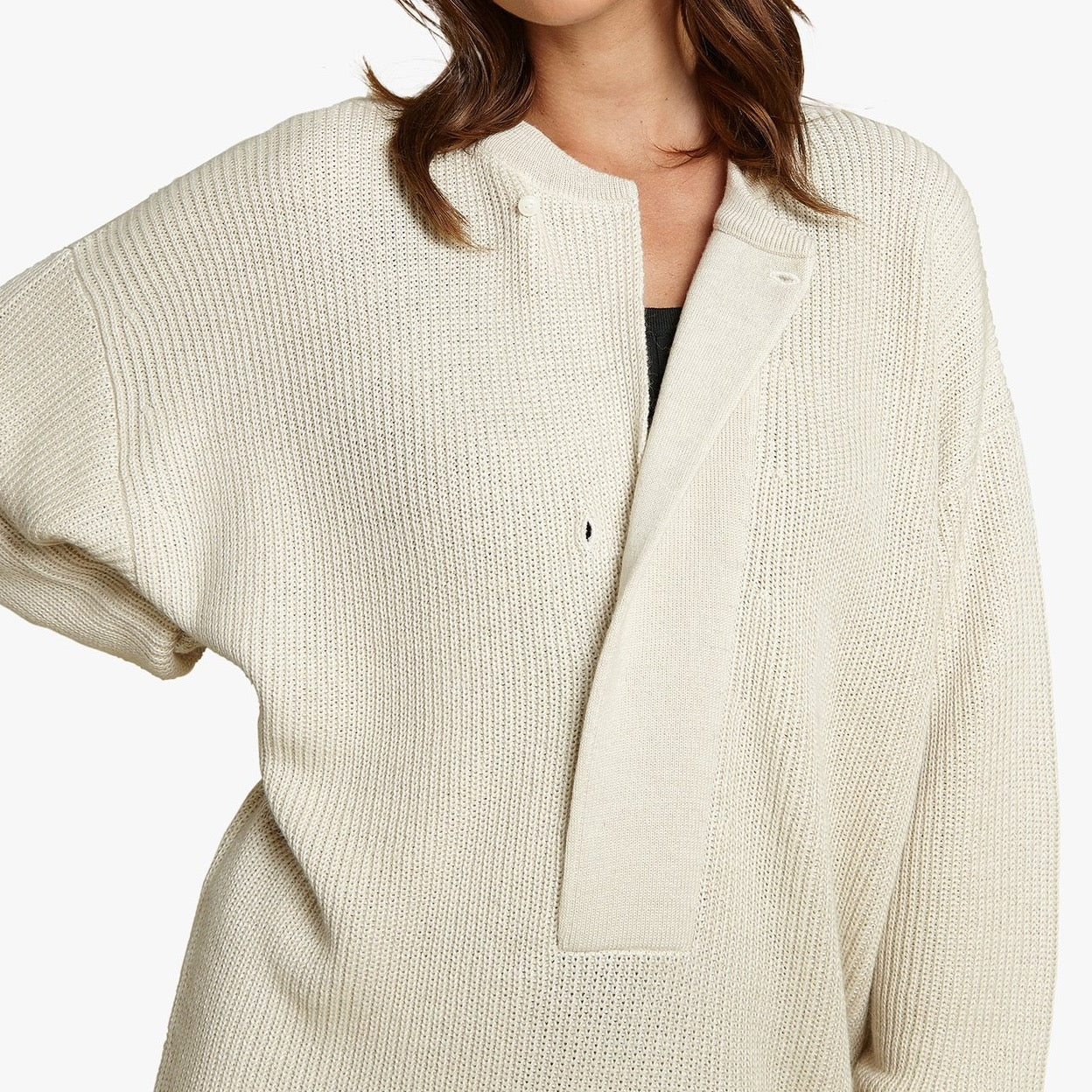 HENLEY TUNIC SWEATER
