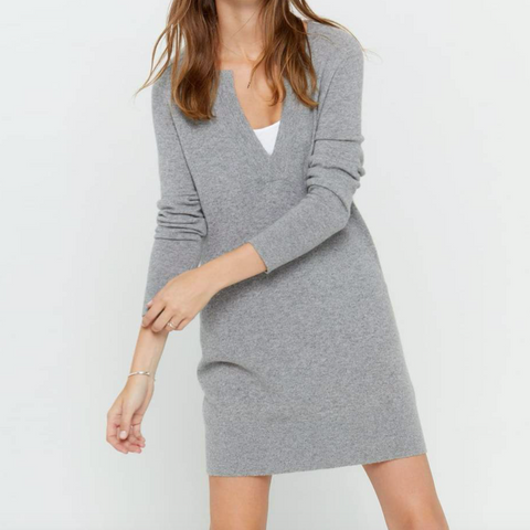 Long Sleeve V-Neck Cashmere Dress