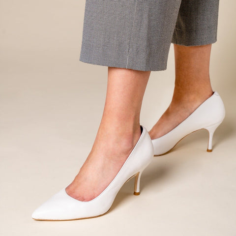 ALLY Classic White Leather Pump