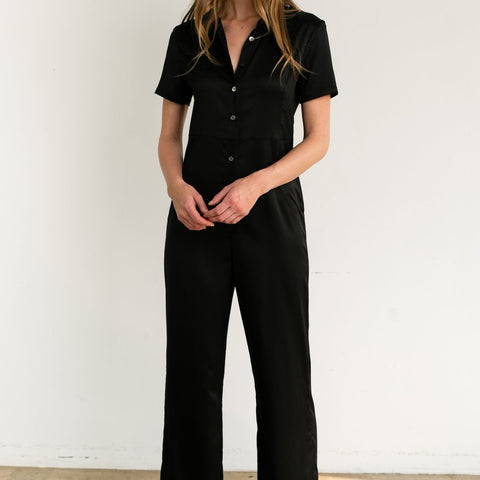 Short Sleeve Wide Leg Jumpsuit