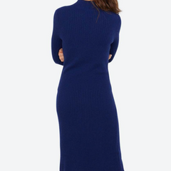 back view, Long Sleeve Turtleneck Cashmere Sweater Dress