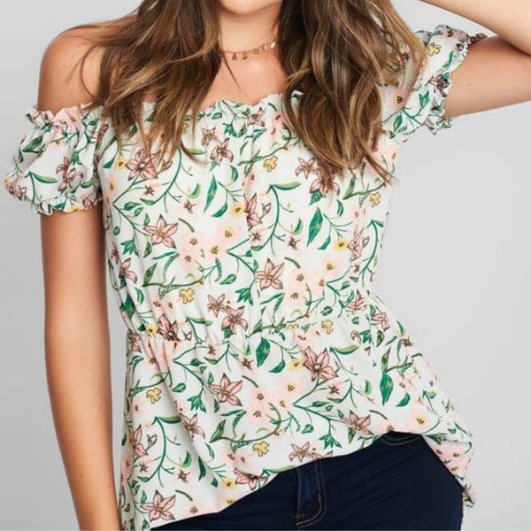 Tall Drop Shoulder Blouse in Dark Sage Floral