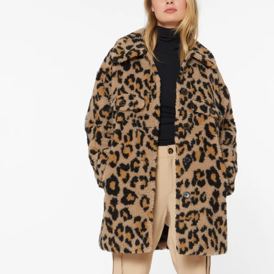 front profile styled,Printed Sherpa Shirt Jacket Leopard