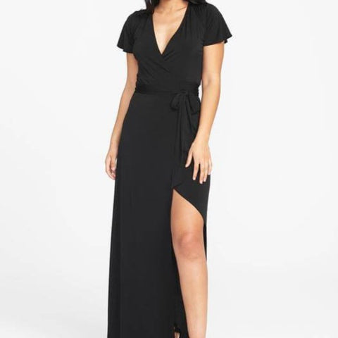Tall Short Sleeve Maxi Dress in Black