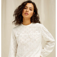 Mia Broderie Blouse In White