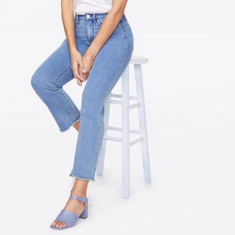 Marilyn Straight Ankle Jeans With Raw Hem