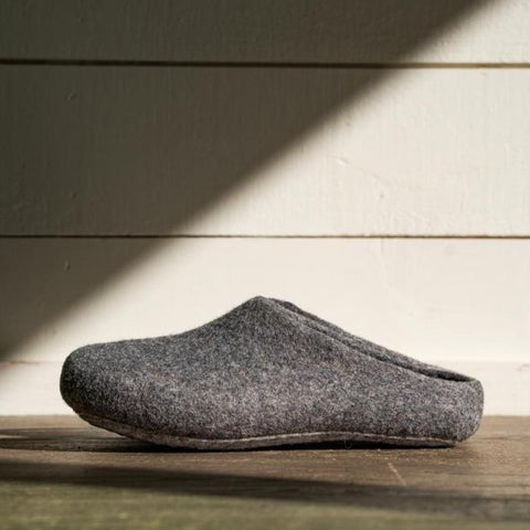 Kyrgies Classic Wool Slippers - Low-Back - Gray Womens