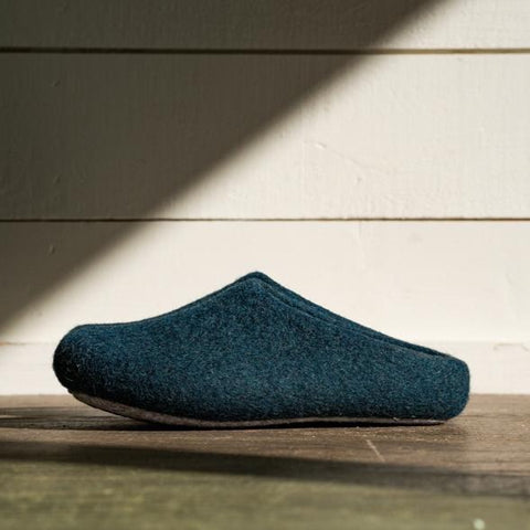 Kyrgies Classic Wool Slippers Low-Back - Heathered Navy Womens