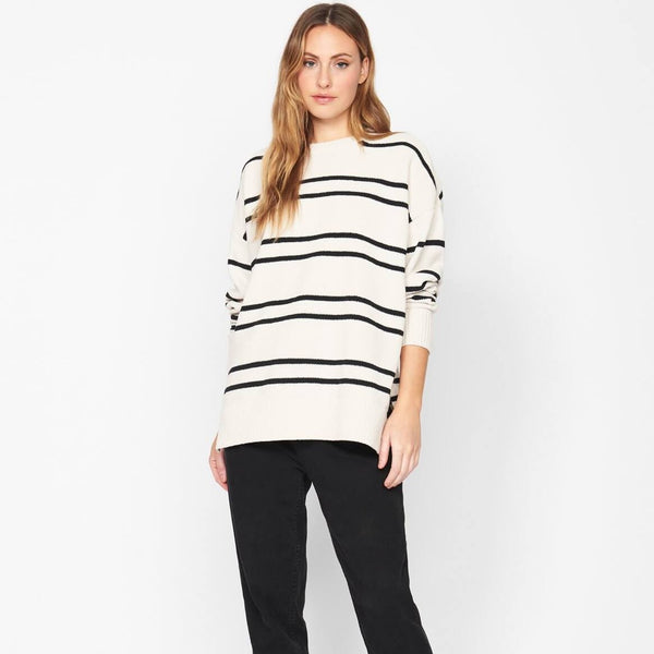 Styled,Everyday Sweater Tunic Soymilk and Black Stripe