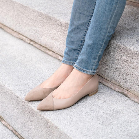 ALLY Tenacious Tan Suede / Bossy Beige Leather Flat