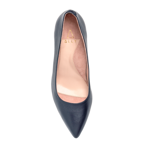 ALLY Good Night Navy Leather Pump