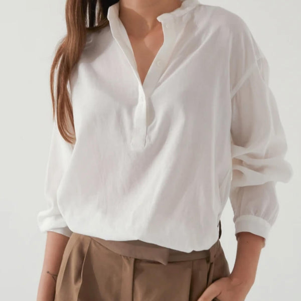 Almina Concept white Band Collar Button Up Shirt