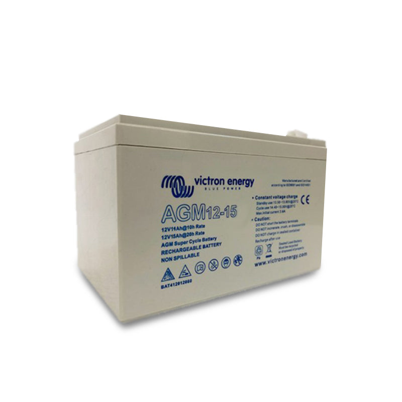 Victron Energy 12V/15Ah AGM Super Cycle Battery (Faston-tab 6.3x0.8mm) BAT412015080