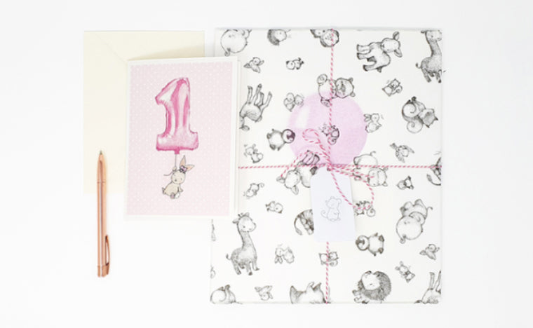 girl's first birthday gift wrap and greetings card set
