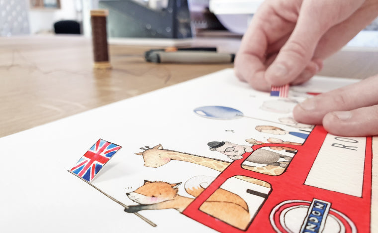creating a personalised children's red london bus picture