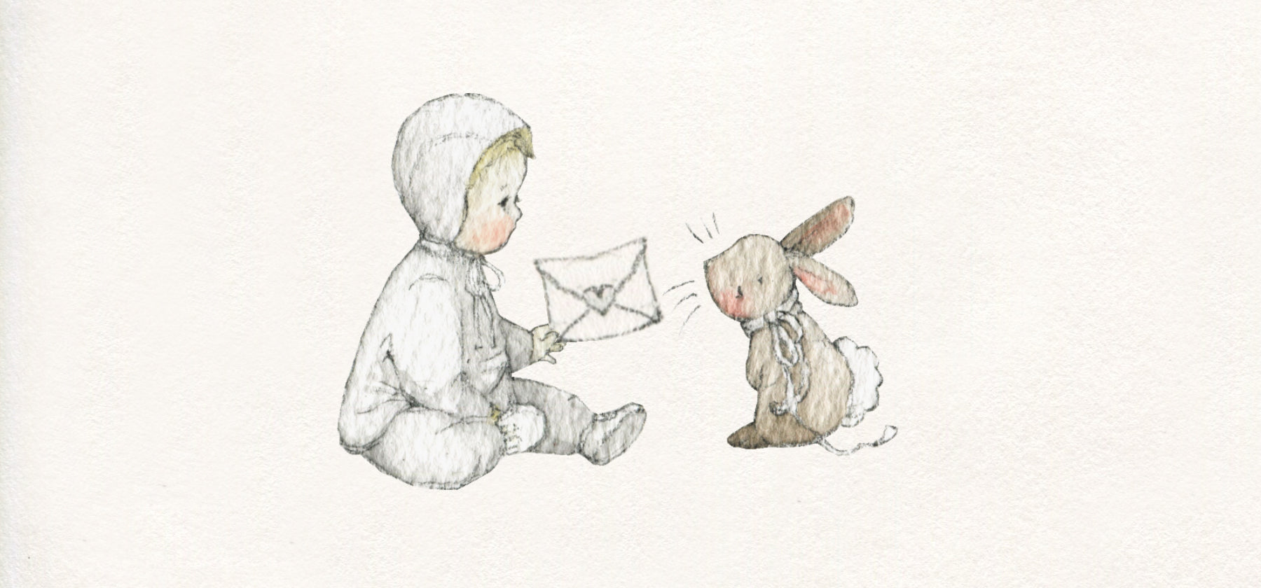 children's Illustration of bunny rabbit delivering a letter to a child