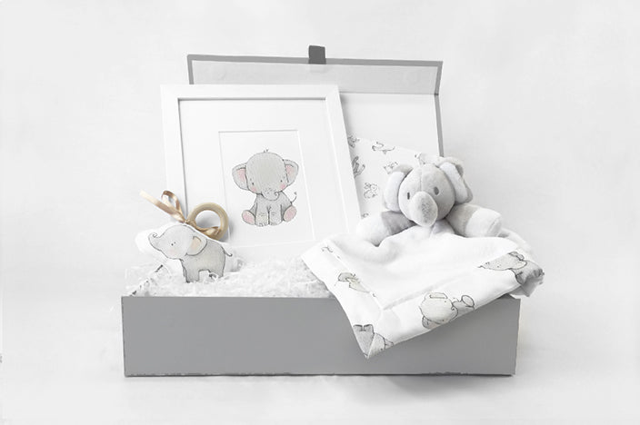 newborn baby luxury gift box with elephant theme presents