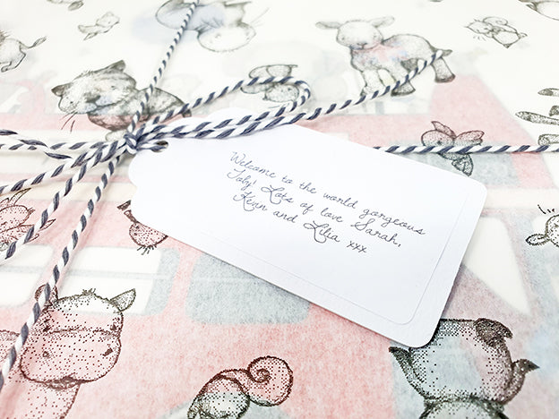 hand written gift tag for a new born baby gift