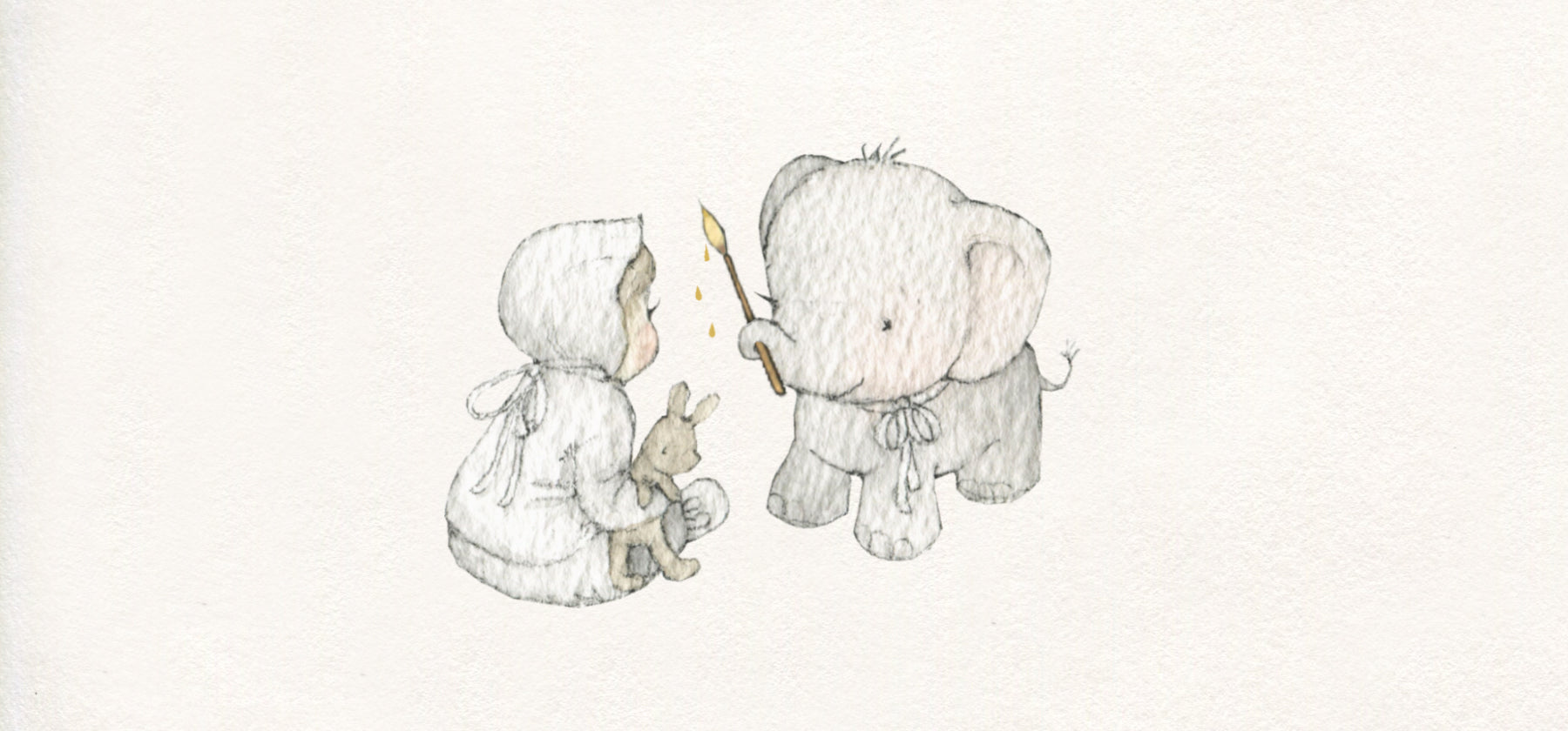 children's illustration of a cute baby elephant and child