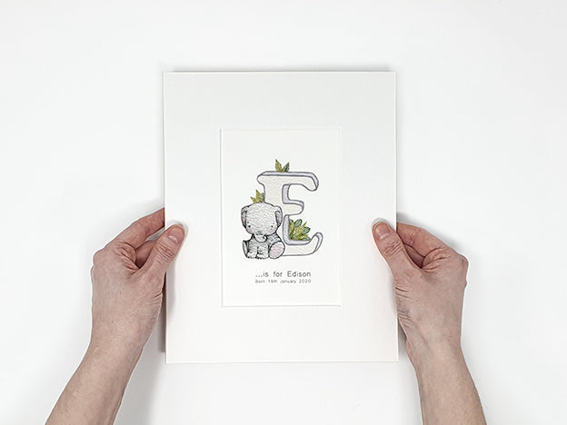 mounted children's personalised letter print
