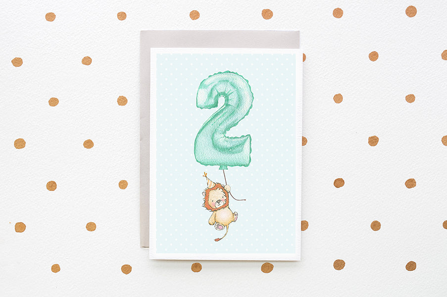 Boy's Number 2 Second Birthday Greetings Card