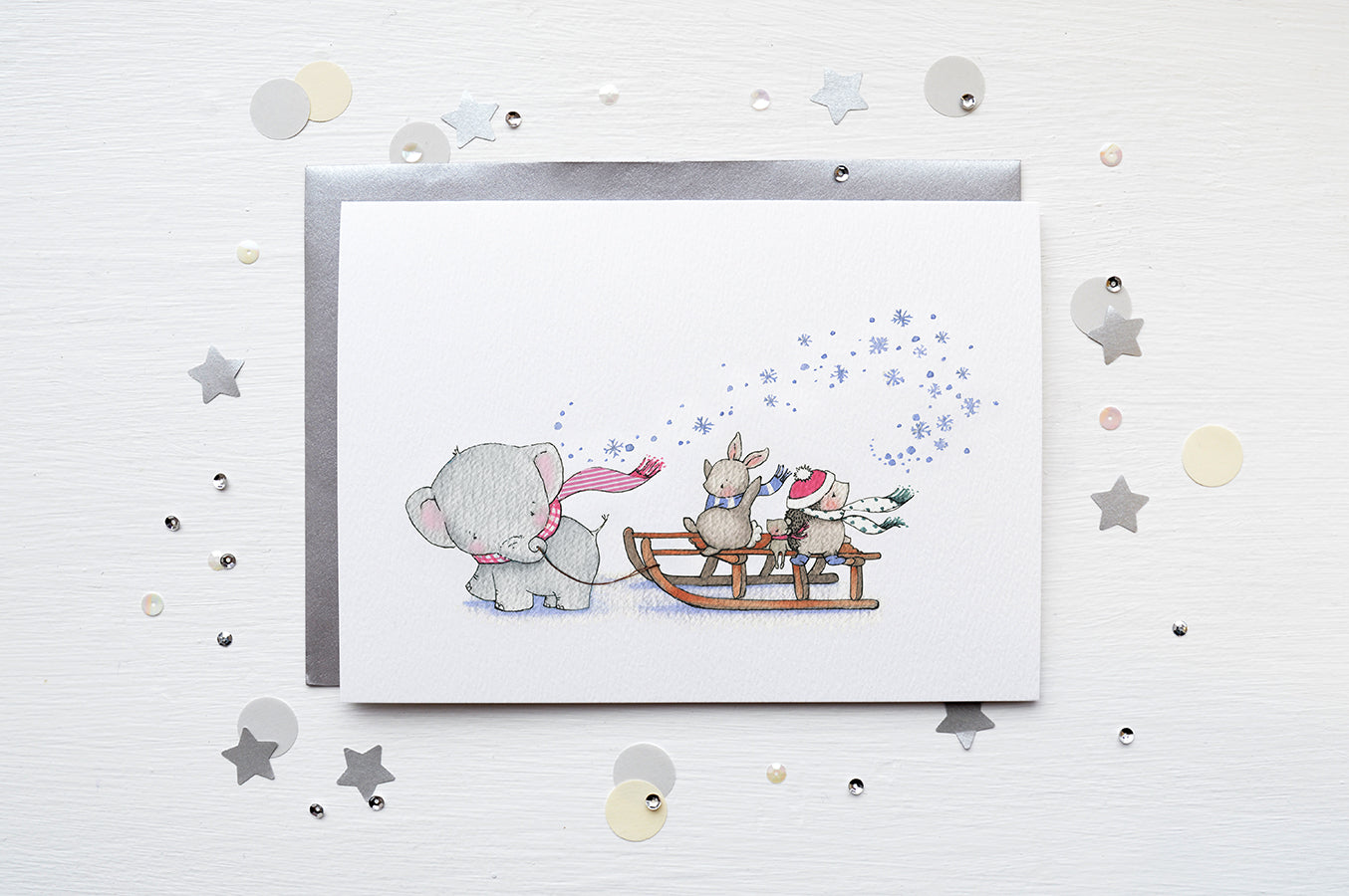 Children's Sleigh Ride Christmas Greetings Card
