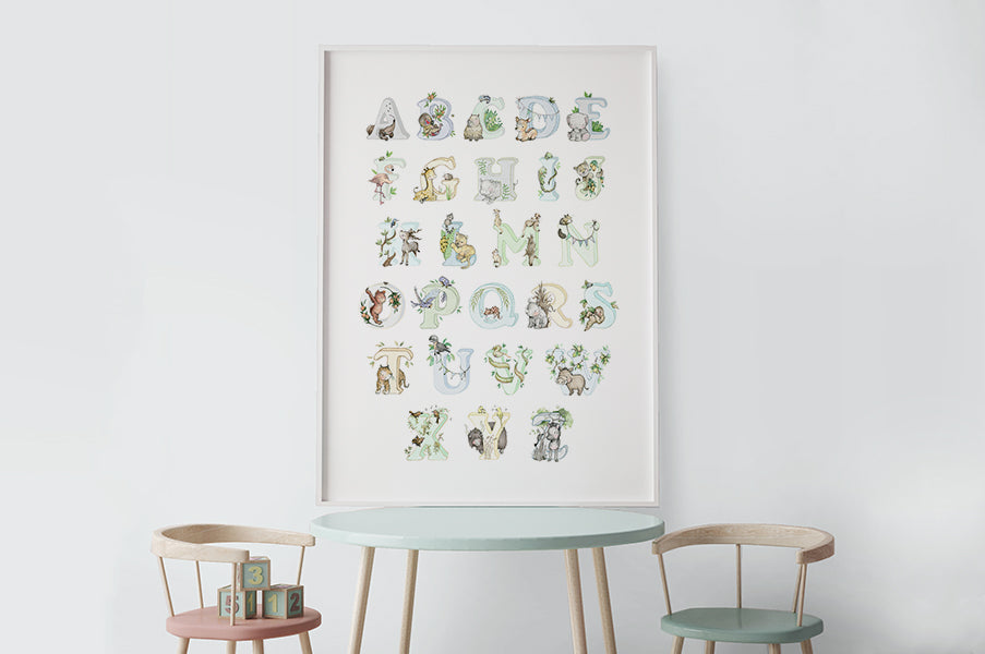 Big Blue Jungle Alphabet Boy's Poster Print