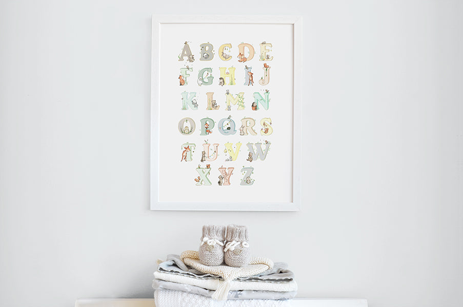 Neutral Woodland Animal Alphabet Picture for Children's Room