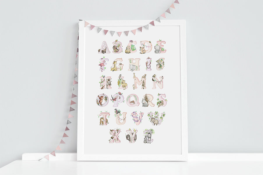 Girl's Pink Jungle Animal Alphabet Print